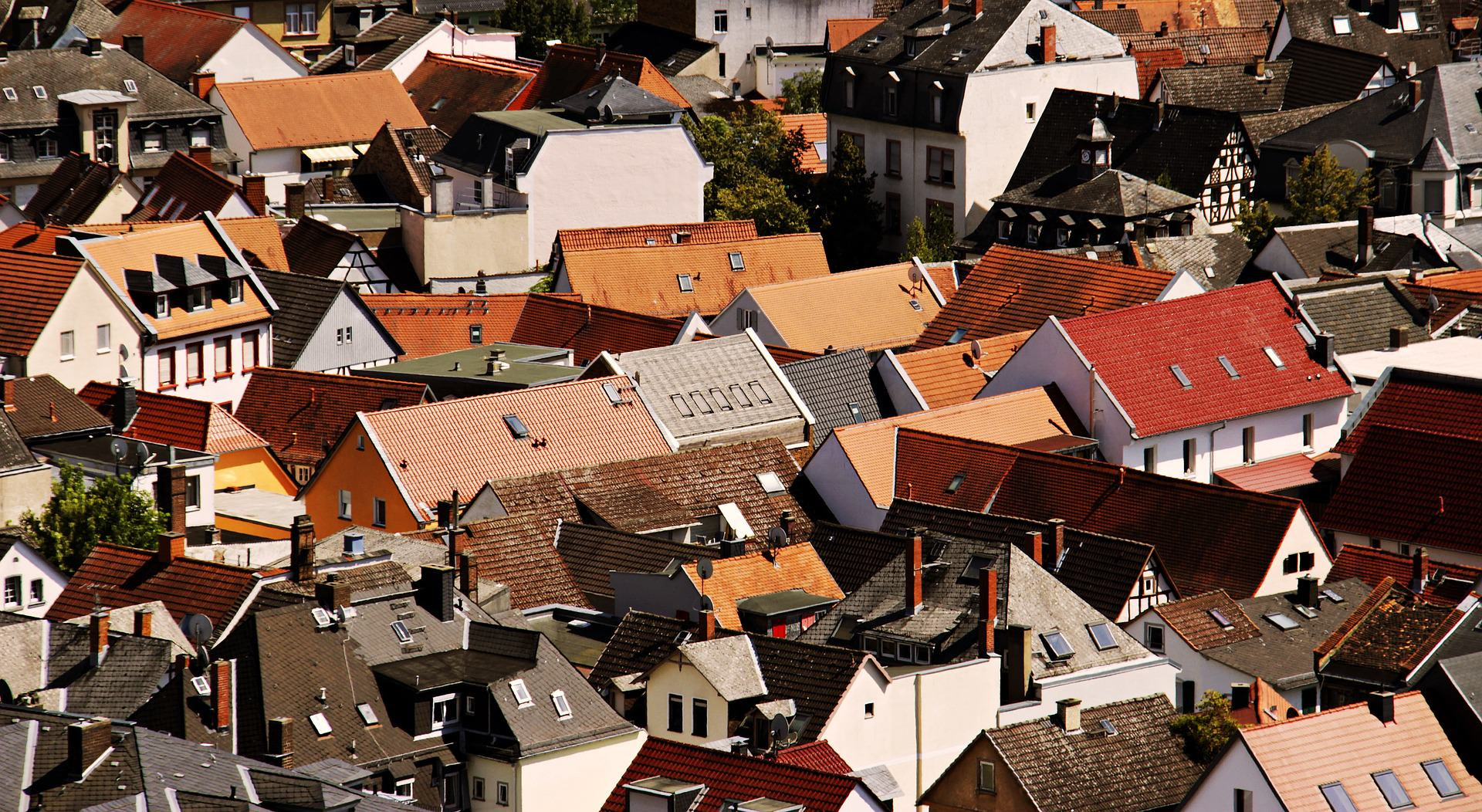 An image of carious roofs from a birds-eye view.